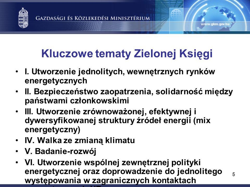 5 Kluczowe tematy Zielonej Księgi I. Utworzenie jednolitych, wewnętrznych rynków energetycznych II.