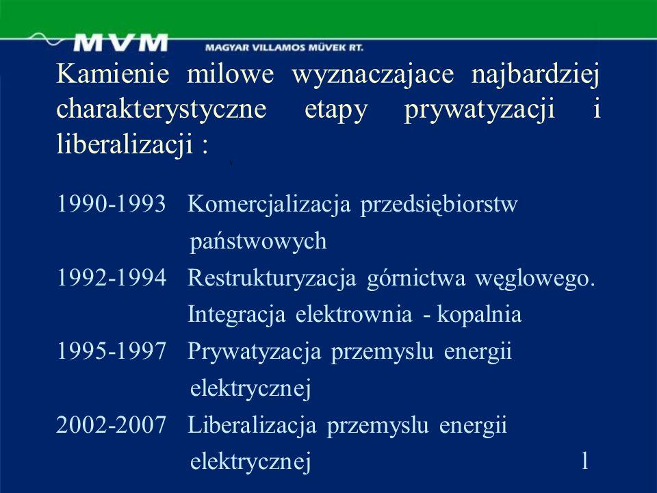 Kamienie milowe wyznaczajace najbardziej charakterystyczne etapy prywatyzacji i liberalizacji : 1990-1993Komercjalizacja przedsiębiorstw państwowych 1992-1994Restrukturyzacja górnictwa węglowego.