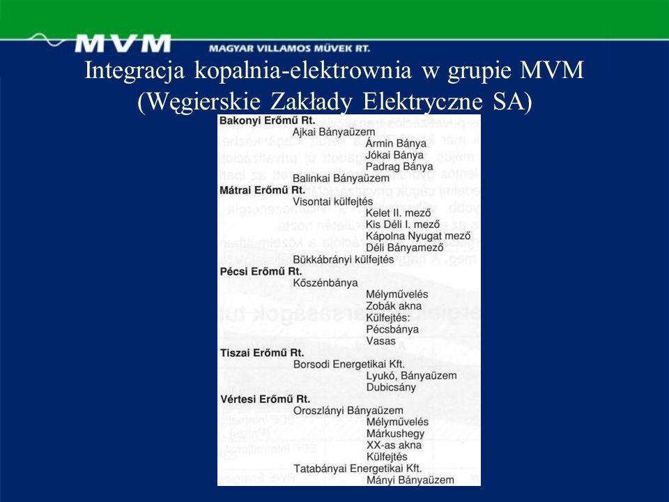 Integracja kopalnia-elektrownia w grupie MVM (Węgierskie Zakłady Elektryczne SA)
