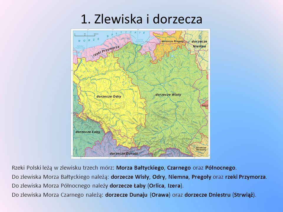 1. Zlewiska i dorzecza Rzeki Polski leżą w zlewisku trzech mórz: Morza Bałtyckiego, Czarnego oraz Północnego. Do zlewiska Morza Bałtyckiego należą: do