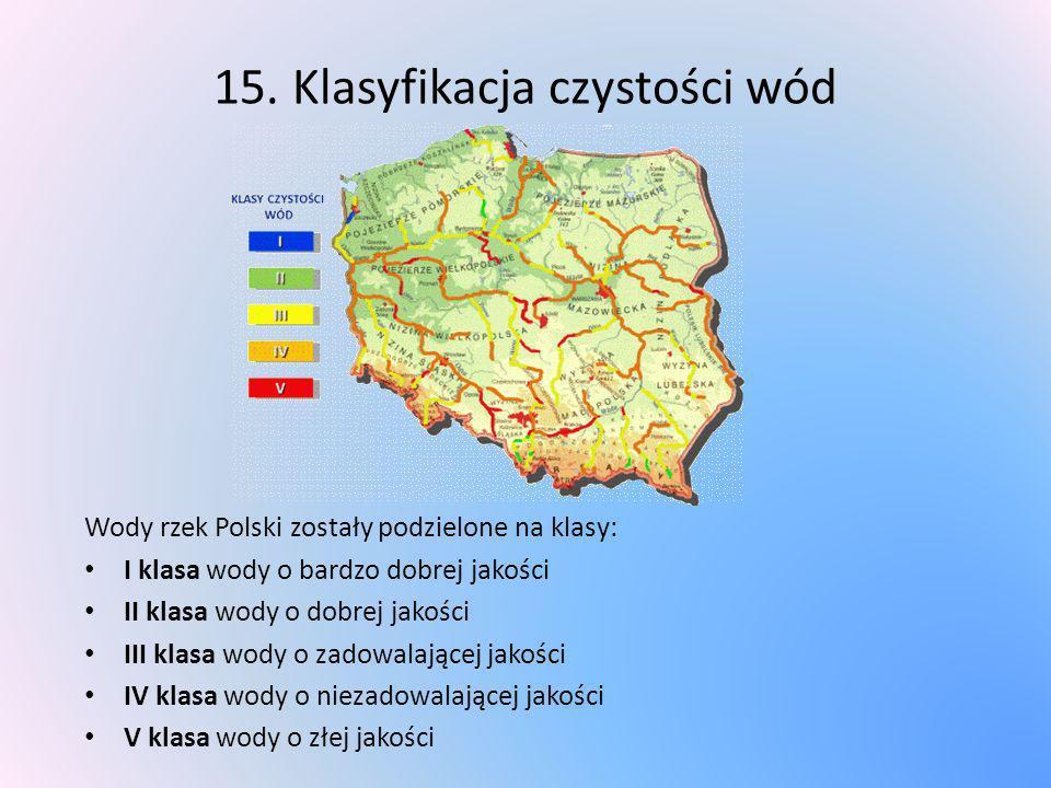 15. Klasyfikacja czystości wód Wody rzek Polski zostały podzielone na klasy: I klasa wody o bardzo dobrej jakości II klasa wody o dobrej jakości III k