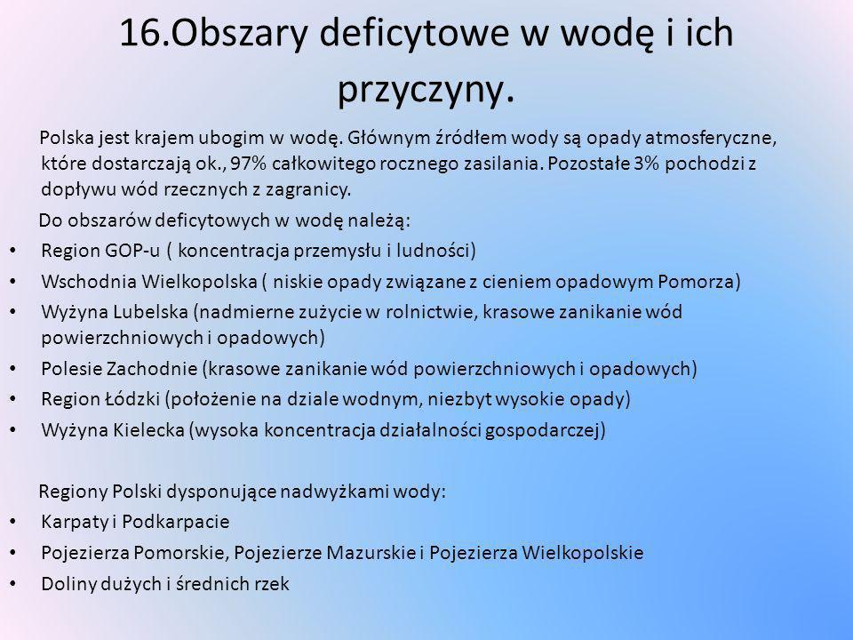 16.Obszary deficytowe w wodę i ich przyczyny. Polska jest krajem ubogim w wodę. Głównym źródłem wody są opady atmosferyczne, które dostarczają ok., 97