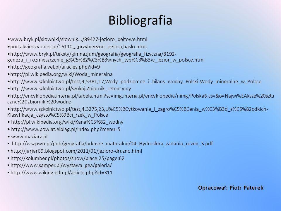 Bibliografia www.bryk.pl/słowniki/słownik.../89427-jezioro_deltowe.html portalwiedzy.onet.pl/16110,,,,przybrzezne_jeziora,haslo.html http://www.bryk.p