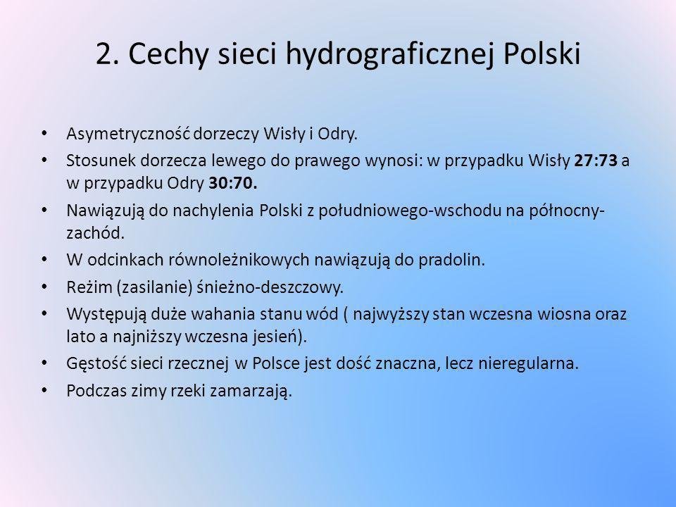 2. Cechy sieci hydrograficznej Polski Asymetryczność dorzeczy Wisły i Odry. Stosunek dorzecza lewego do prawego wynosi: w przypadku Wisły 27:73 a w pr