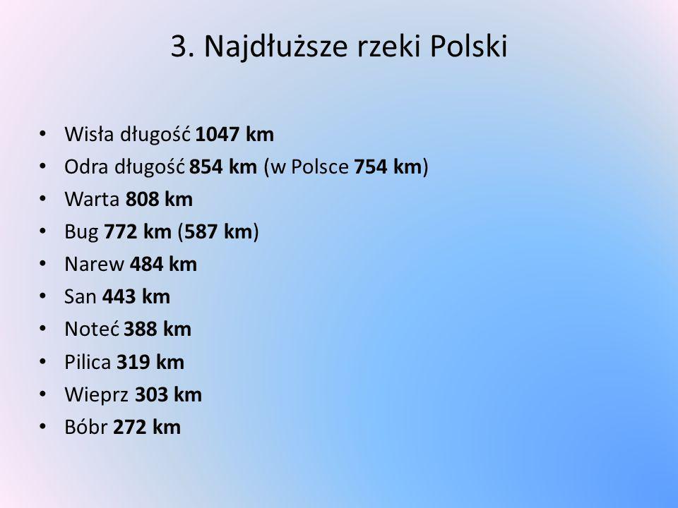 3. Najdłuższe rzeki Polski Wisła długość 1047 km Odra długość 854 km (w Polsce 754 km) Warta 808 km Bug 772 km (587 km) Narew 484 km San 443 km Noteć