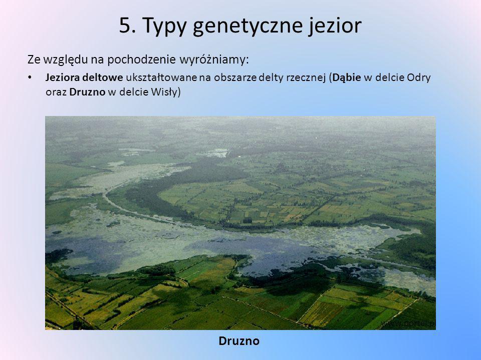 5. Typy genetyczne jezior Ze względu na pochodzenie wyróżniamy: Jeziora deltowe ukształtowane na obszarze delty rzecznej (Dąbie w delcie Odry oraz Dru
