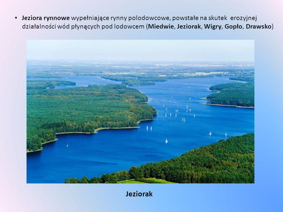 Jeziora rynnowe wypełniające rynny polodowcowe, powstałe na skutek erozyjnej działalności wód płynących pod lodowcem (Miedwie, Jeziorak, Wigry, Gopło,