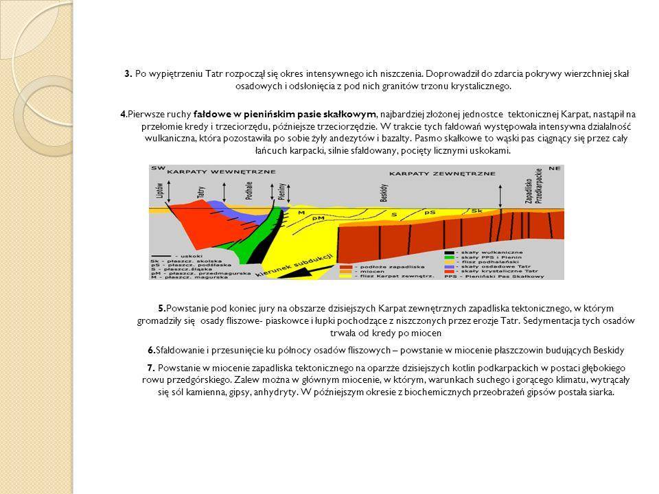 3. Po wypiętrzeniu Tatr rozpoczął się okres intensywnego ich niszczenia. Doprowadził do zdarcia pokrywy wierzchniej skał osadowych i odsłonięcia z pod