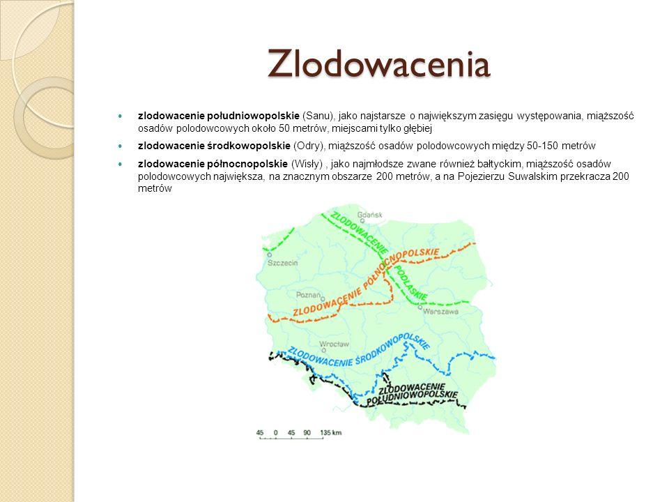 Zlodowacenia zlodowacenie południowopolskie (Sanu), jako najstarsze o największym zasięgu występowania, miąższość osadów polodowcowych około 50 metrów