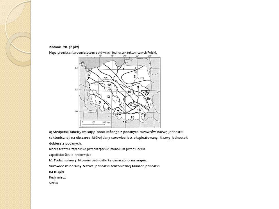 Zadanie 28. (2 pkt) Mapa przedstawia rozmieszczenie głównych jednostek tektonicznych Polski. a) Uzupełnij tabelę, wpisując obok każdego z podanych sur