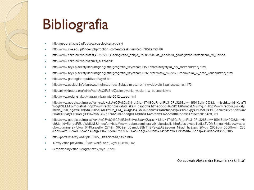 Bibliografia http://geografia.na6.pl/budowa-geologiczna-polski http://www.cke.edu.pl/index.php?option=content&task=view&id=79&Itemid=86 http://www.szk