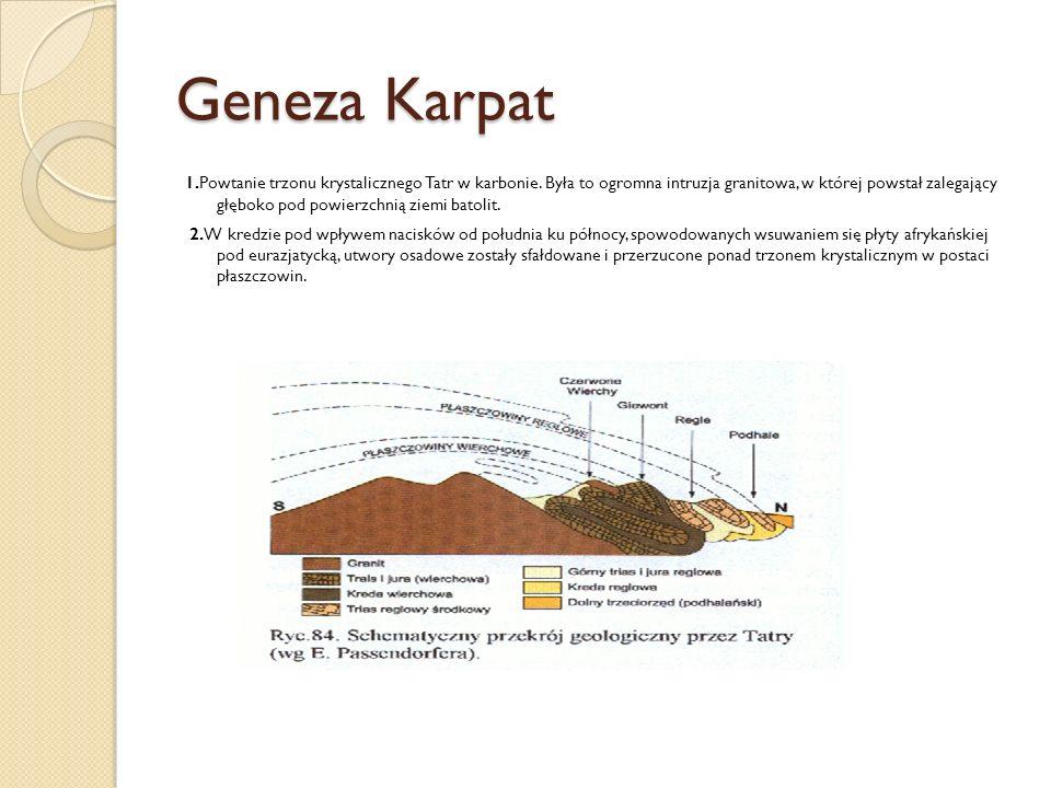 Geneza Karpat 1.Powtanie trzonu krystalicznego Tatr w karbonie. Była to ogromna intruzja granitowa, w której powstał zalegający głęboko pod powierzchn
