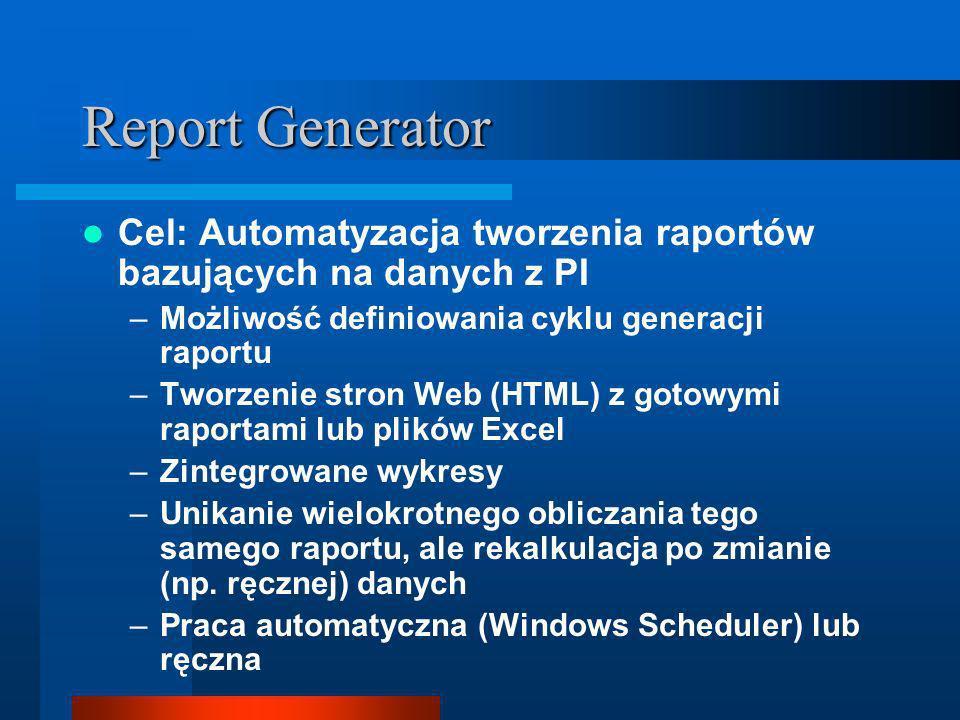Report Generator Cel: Automatyzacja tworzenia raportów bazujących na danych z PI –Możliwość definiowania cyklu generacji raportu –Tworzenie stron Web (HTML) z gotowymi raportami lub plików Excel –Zintegrowane wykresy –Unikanie wielokrotnego obliczania tego samego raportu, ale rekalkulacja po zmianie (np.