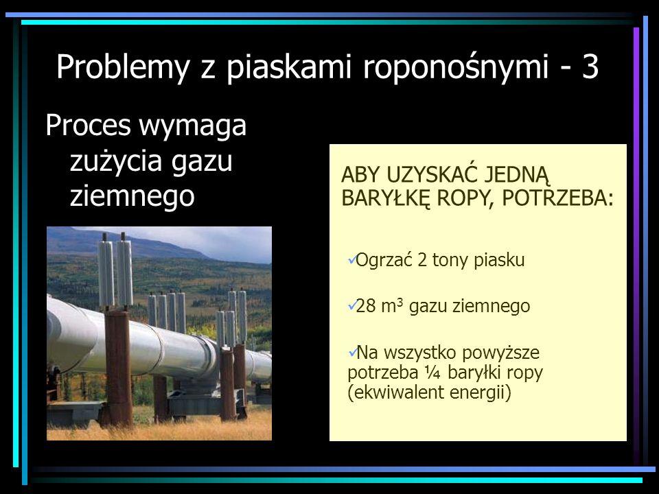 Proces wymaga zużycia gazu ziemnego ABY UZYSKAĆ JEDNĄ BARYŁKĘ ROPY, POTRZEBA: Ogrzać 2 tony piasku 28 m 3 gazu ziemnego Na wszystko powyższe potrzeba