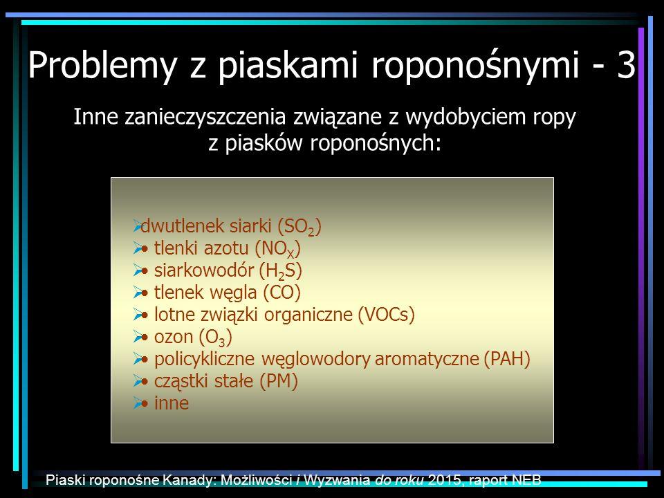 Problemy z piaskami roponośnymi - 3 dwutlenek siarki (SO 2 ) tlenki azotu (NO X ) siarkowodór (H 2 S) tlenek węgla (CO) lotne związki organiczne (VOCs