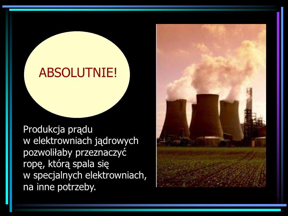 Produkcja prądu w elektrowniach jądrowych pozwoliłaby przeznaczyć ropę, którą spala się w specjalnych elektrowniach, na inne potrzeby. ABSOLUTNIE!