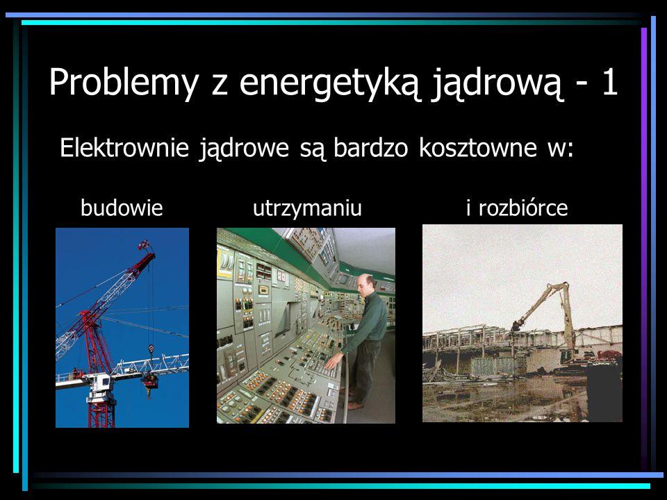 Problemy z energetyką jądrową - 1 Elektrownie jądrowe są bardzo kosztowne w: budowie utrzymaniu i rozbiórce