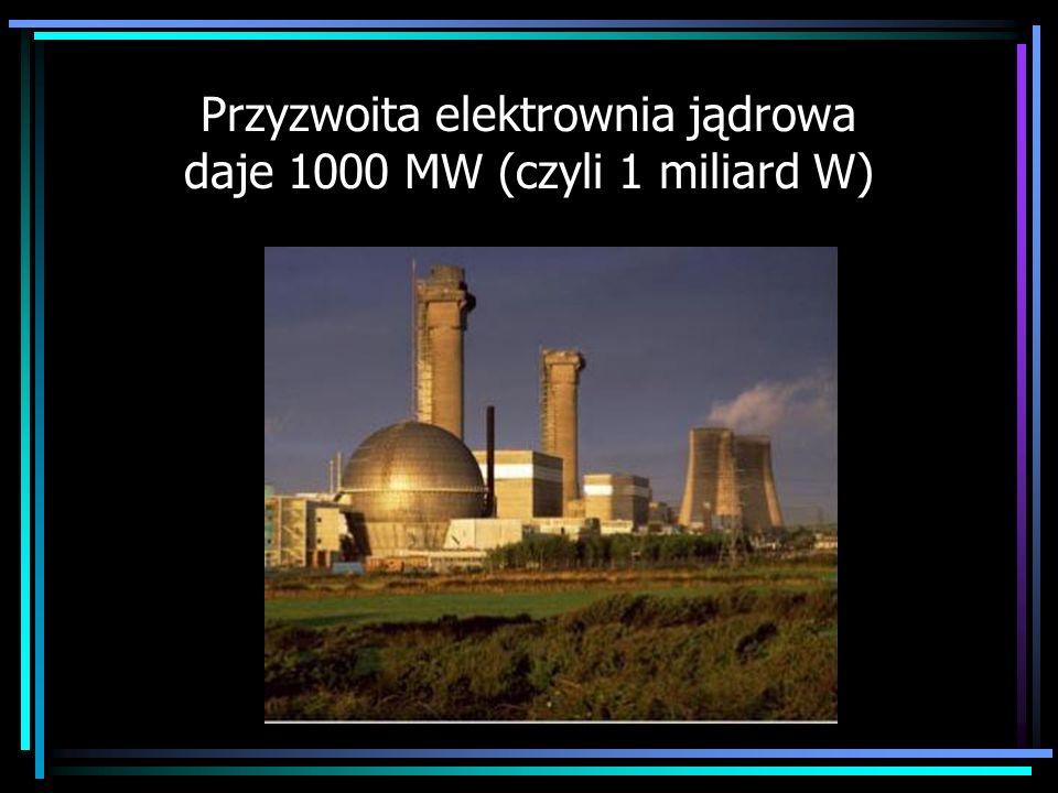 Przyzwoita elektrownia jądrowa daje 1000 MW (czyli 1 miliard W)