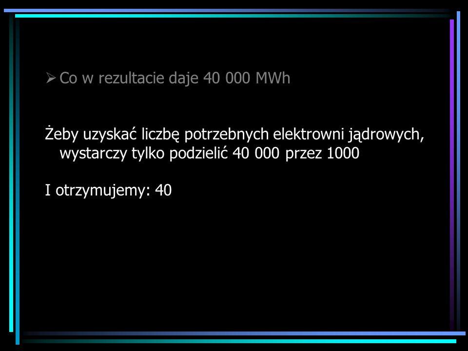 Co w rezultacie daje 40 000 MWh Żeby uzyskać liczbę potrzebnych elektrowni jądrowych, wystarczy tylko podzielić 40 000 przez 1000 I otrzymujemy: 40