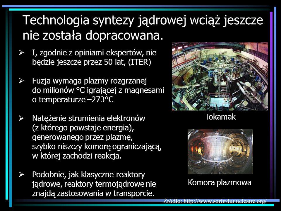 Technologia syntezy jądrowej wciąż jeszcze nie została dopracowana. Tokamak I, zgodnie z opiniami ekspertów, nie będzie jeszcze przez 50 lat, (ITER) F