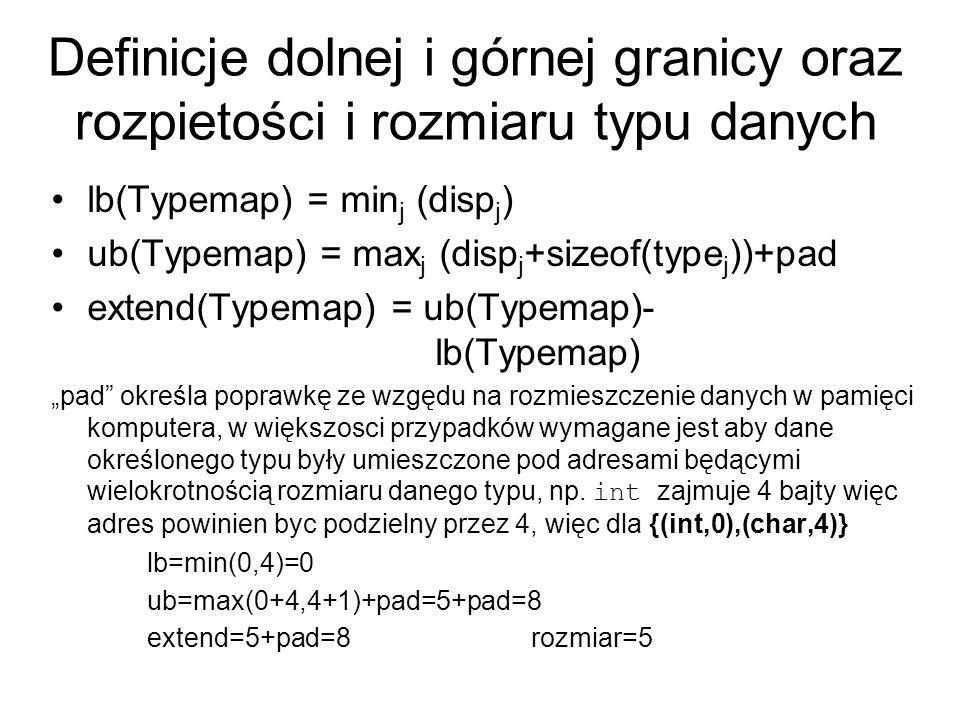 MPI_TYPE_EXTENT(datatype, extent) [ IN datatype] typ danych [ OUT extent] rozpiętość typu danych int MPI_Type_extent(MPI_Datatype datatype, MPI_Aint *extent) MPI_TYPE_EXTENT(DATATYPE, EXTENT, IERROR) INTEGER DATATYPE, EXTENT, IERROR MPI_TYPE_SIZE(datatype, size) [ IN datatype] typ danych [ OUT size] rozmiar typu danych w bajtach – ilość bajtow buforowanych/przesyłanych int MPI_Type_size(MPI_Datatype datatype, int *size) MPI_TYPE_SIZE(DATATYPE, SIZE, IERROR) INTEGER DATATYPE, SIZE, IERROR