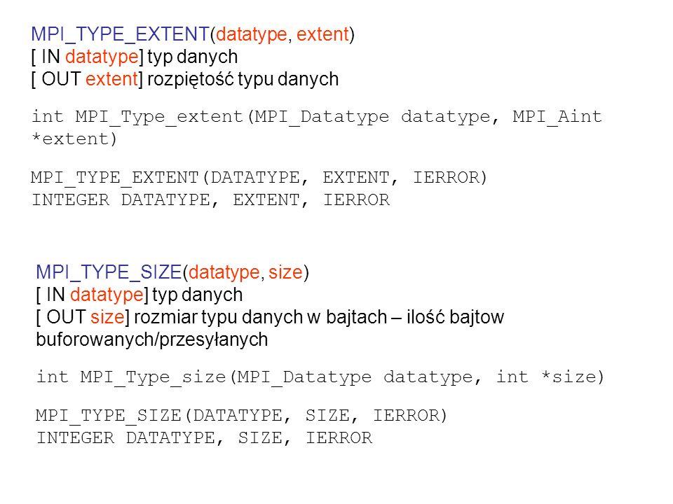 przesyłanie zawartości COMMON PARAMETER(NBLOCKS = 2) INTEGER array_of_displacements(NBLOCKS) INTEGER array_of_addresses(NBLOCKS) INTEGER array_of_types(NBLOCKS) INTEGER array_of_blocklenghts(NBLOCKS) DOUBLE PRECISION results(RMAX) PARAMETER (RMAX=3) COMMON /resultPacket/ nResults, results array_of_blocklenghts(1) = 1 array_of_blocklenghts(1) = RMAX CALL MPI_ADDRESS(nResults, array_of_addresses(1), ierr) CALL MPI_ADDRESS(results, array_of_addresses(2), ierr) array_of_displacements(1)=0 array_of_displacements(2)=array_of_addresses(2)-array_of_addresses(1) array_of_types(1) = MPI_INTEGER array_of_types(2) = MPI_DOUBLE_PRECISION CALL MPI_TYPE_STRUCT (NBLOCKS, & array_of_blocklenghts, & array_of_displacements, & array_of_types, & resultPacketType, ierr) CALL MPI_TYPE_COMMIT (resultPacketType, ierr)...