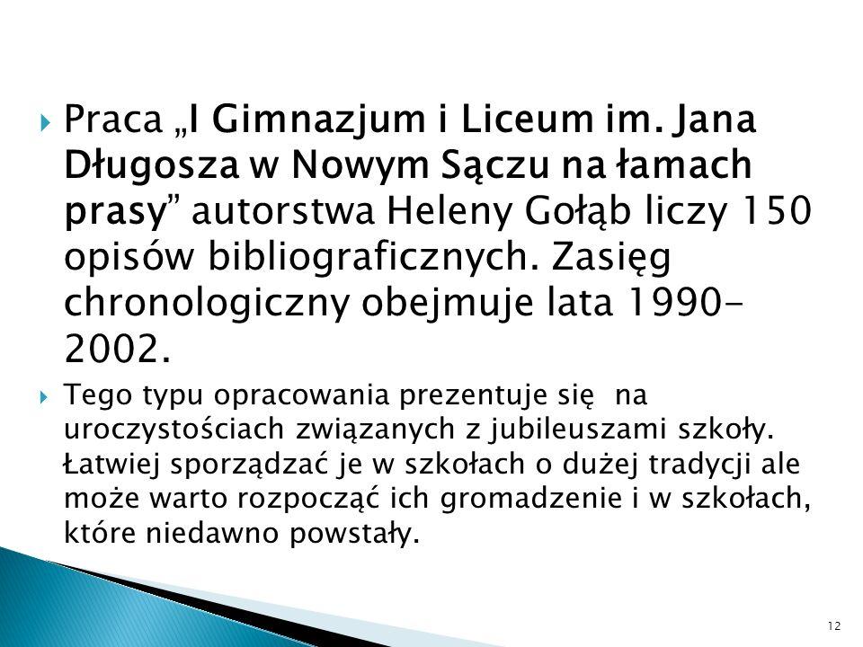 Praca I Gimnazjum i Liceum im.