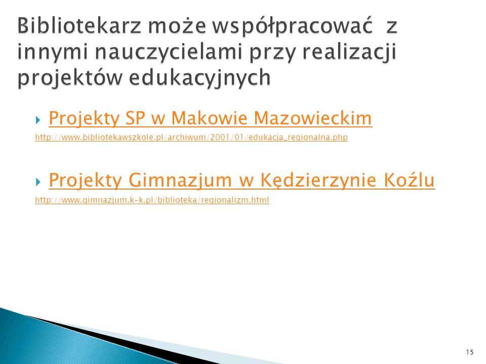 Projekty SP w Makowie Mazowieckim http://www.bibliotekawszkole.pl/archiwum/2001/01/edukacja_regionalna.php Projekty Gimnazjum w Kędzierzynie Koźlu http://www.gimnazjum.k-k.pl/biblioteka/regionalizm.html 15
