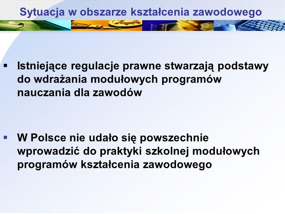 Istniejące regulacje prawne stwarzają podstawy do wdrażania modułowych programów nauczania dla zawodów W Polsce nie udało się powszechnie wprowadzić d
