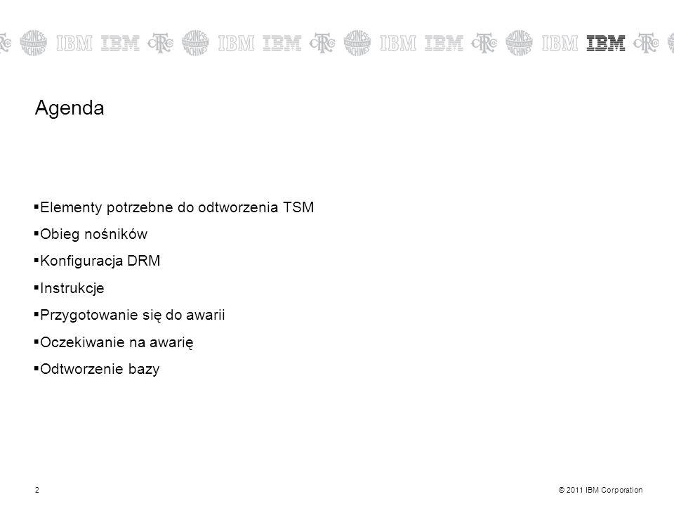 © 2011 IBM Corporation2 Agenda Elementy potrzebne do odtworzenia TSM Obieg nośników Konfiguracja DRM Instrukcje Przygotowanie się do awarii Oczekiwanie na awarię Odtworzenie bazy