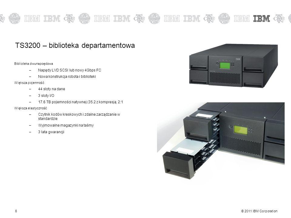 © 2011 IBM Corporation6 TS3200 – biblioteka departamentowa Biblioteka dwunapoędowa –Napędy LVD SCSI lub nowy 4Gbps FC –Nowa konstrukcja robota i biblioteki Większa pojemność –44 sloty na dane –3 sloty I/O –17.6 TB pojemności natywnej (35.2 z kompresją 2:1 Większa elastyczność –Czytnik kodów kreskowych i zdalne zarządzanie w standardzie –Wyjmowalne magazynki na taśmy –3 lata gwarancji