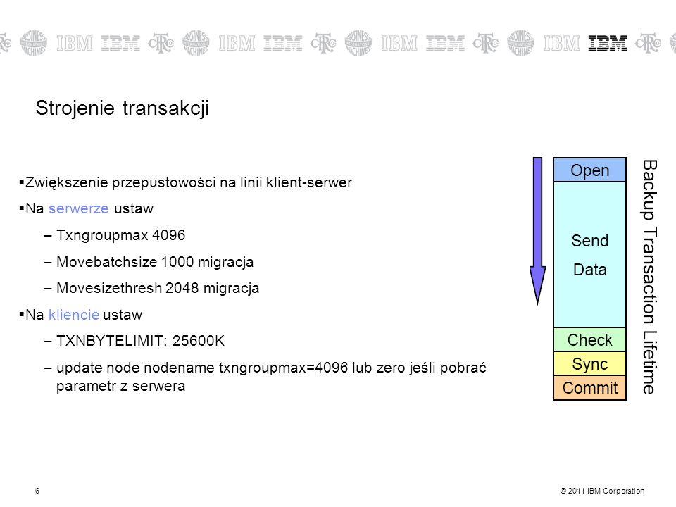 © 2011 IBM Corporation6 Strojenie transakcji Zwiększenie przepustowości na linii klient-serwer Na serwerze ustaw –Txngroupmax 4096 –Movebatchsize 1000 migracja –Movesizethresh 2048 migracja Na kliencie ustaw –TXNBYTELIMIT: 25600K –update node nodename txngroupmax=4096 lub zero jeśli pobrać parametr z serwera