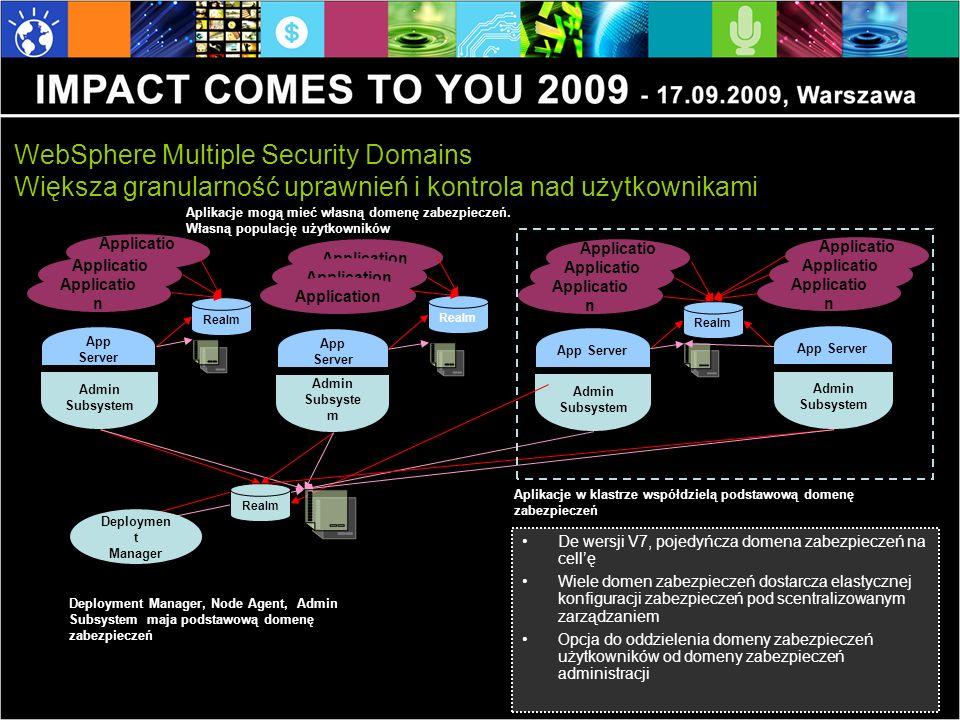 De wersji V7, pojedyńcza domena zabezpieczeń na cellę Wiele domen zabezpieczeń dostarcza elastycznej konfiguracji zabezpieczeń pod scentralizowanym zarządzaniem Opcja do oddzielenia domeny zabezpieczeń użytkowników od domeny zabezpieczeń administracji WebSphere Multiple Security Domains Większa granularność uprawnień i kontrola nad użytkownikami Applicatio n Admin Subsystem App Server Applicatio n Realm Security Config Application Admin Subsyste m App Server Application Realm Security Config Applicatio n Admin Subsystem App Server Applicatio n Security Config Applicatio n Admin Subsystem App Server Applicatio n Realm Cluster Deployment Manager, Node Agent, Admin Subsystem maja podstawową domenę zabezpieczeń Aplikacje w klastrze współdzielą podstawową domenę zabezpieczeń Aplikacje mogą mieć własną domenę zabezpieczeń.