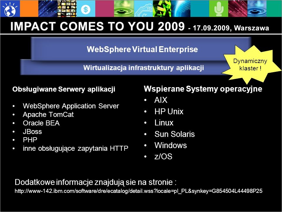 Obsługiwane Serwery aplikacji WebSphere Application Server Apache TomCat Oracle BEA JBoss PHP inne obsługujące zapytania HTTP Wspierane Systemy operacyjne AIX HP Unix Linux Sun Solaris Windows z/OS Dodatkowe informacje znajdują sie na stronie : http://www-142.ibm.com/software/dre/ecatalog/detail.wss locale=pl_PL&synkey=G854504L44498P25 Wirtualizacja infrastruktury aplikacji WebSphere Virtual Enterprise Dynamiczny klaster !