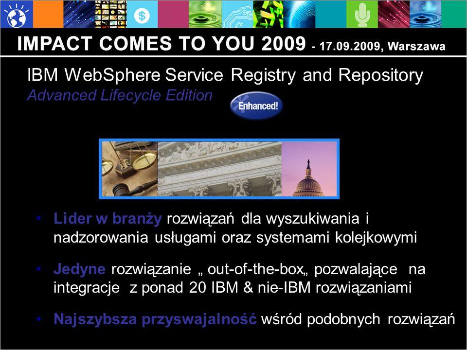 IBM WebSphere Service Registry and Repository Advanced Lifecycle Edition Lider w branży rozwiązań dla wyszukiwania i nadzorowania usługami oraz system