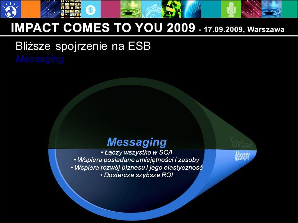 Messaging Łączy wszystko w SOA Wspiera posiadane umiejętności i zasoby Wspiera rozwój biznesu i jego elastyczność Dostarcza szybsze ROI Bliższe spojrz