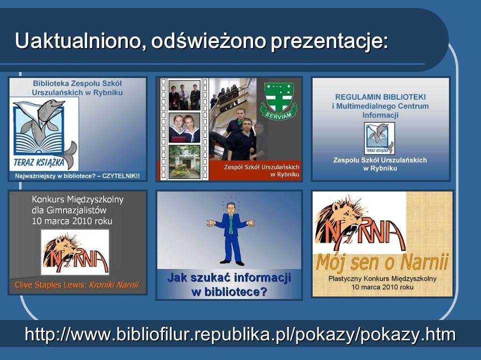 Uaktualniono, odświeżono prezentacje: http://www.bibliofilur.republika.pl/pokazy/pokazy.htm