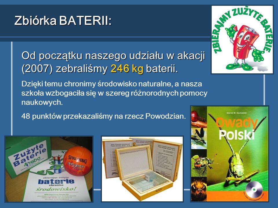 Zbiórka BATERII: Od początku naszego udziału w akacji (2007) zebraliśmy 246 kg baterii.
