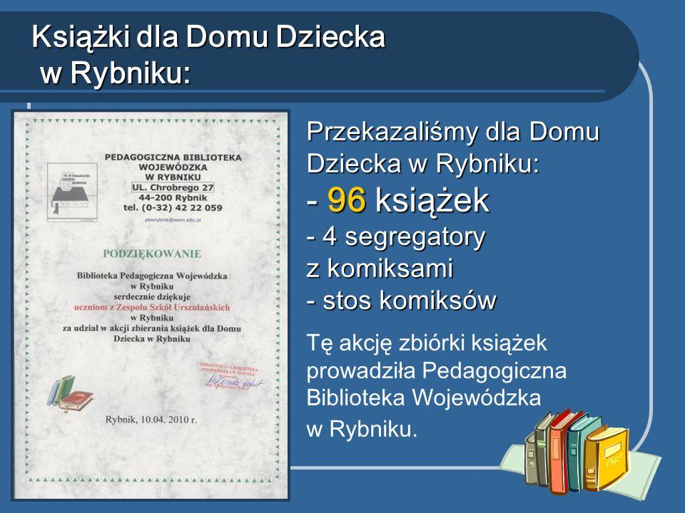 Książki dla Domu Dziecka w Rybniku: Przekazaliśmy dla Domu Dziecka w Rybniku: - 96 książek - 4 segregatory z komiksami - stos komiksów Tę akcję zbiórki książek prowadziła Pedagogiczna Biblioteka Wojewódzka w Rybniku.