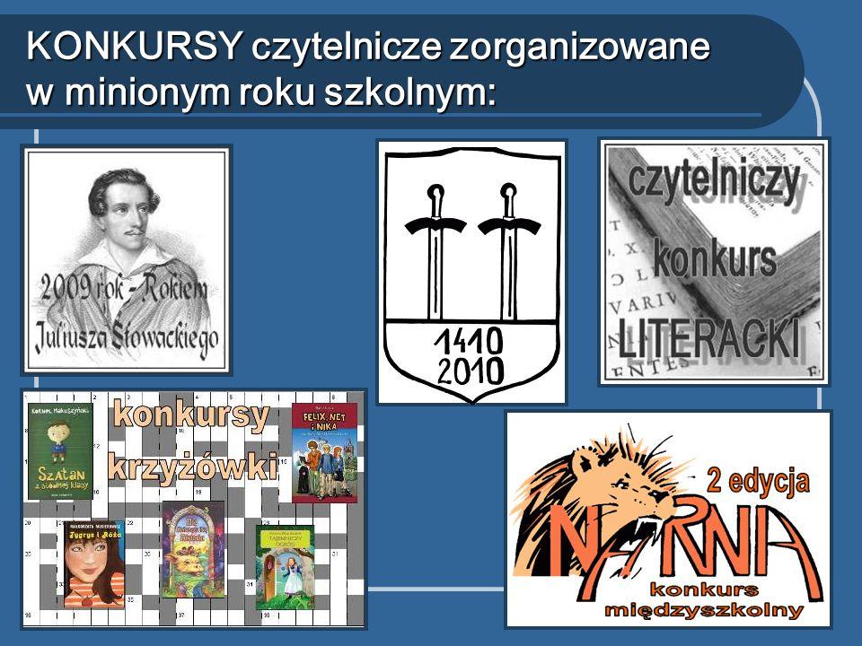 KONKURSY czytelnicze zorganizowane w minionym roku szkolnym: