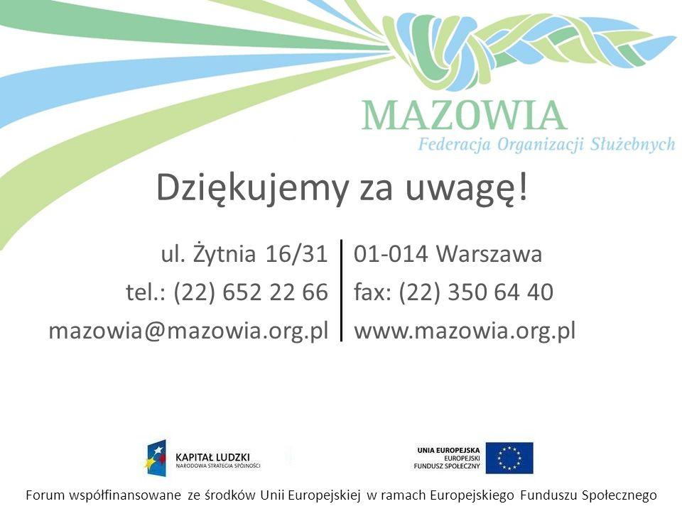 ul. Żytnia 16/31 tel.: (22) 652 22 66 mazowia@mazowia.org.pl 01-014 Warszawa fax: (22) 350 64 40 www.mazowia.org.pl Forum współfinansowane ze środków