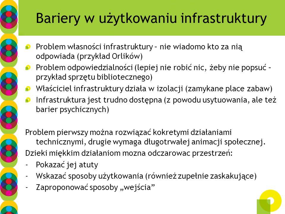 Bariery w użytkowaniu infrastruktury Problem własności infrastruktury – nie wiadomo kto za nią odpowiada (przykład Orlików) Problem odpowiedzialności