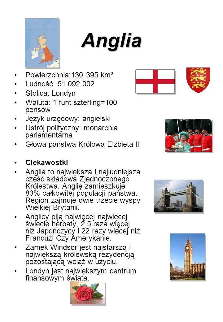 Anglia Powierzchnia:130 395 km² Ludność: 51 092 002 Stolica: Londyn Waluta: 1 funt szterling=100 pensów Język urzędowy: angielski Ustrój polityczny: m