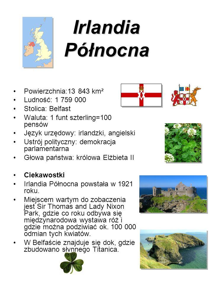 Irlandia Północna Powierzchnia:13 843 km² Ludność: 1 759 000 Stolica: Belfast Waluta: 1 funt szterling=100 pensów Język urzędowy: irlandzki, angielski