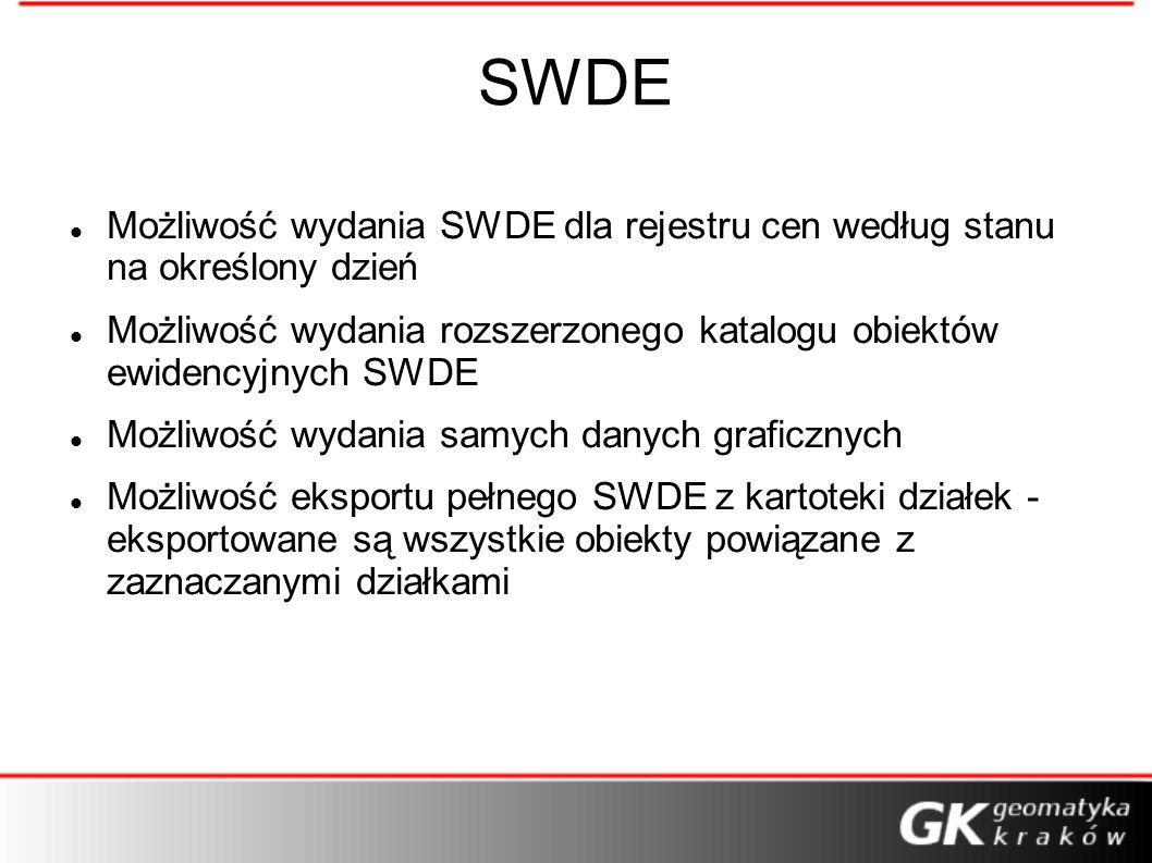 SWDE Możliwość wydania SWDE dla rejestru cen według stanu na określony dzień Możliwość wydania rozszerzonego katalogu obiektów ewidencyjnych SWDE Możl