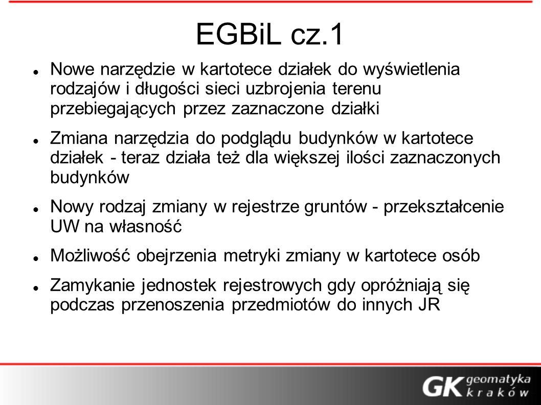 EGBiL cz.1 Nowe narzędzie w kartotece działek do wyświetlenia rodzajów i długości sieci uzbrojenia terenu przebiegających przez zaznaczone działki Zmi
