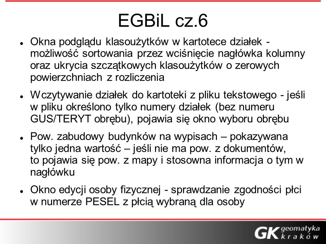 EGBiL cz.6 Okna podglądu klasoużytków w kartotece działek - możliwość sortowania przez wciśnięcie nagłówka kolumny oraz ukrycia szczątkowych klasoużyt