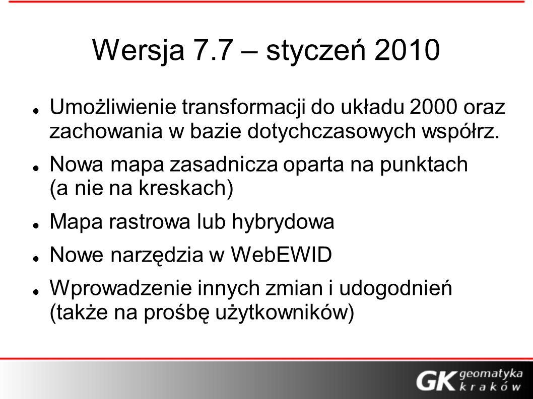 Wersja 7.7 – styczeń 2010 Umożliwienie transformacji do układu 2000 oraz zachowania w bazie dotychczasowych współrz. Nowa mapa zasadnicza oparta na pu