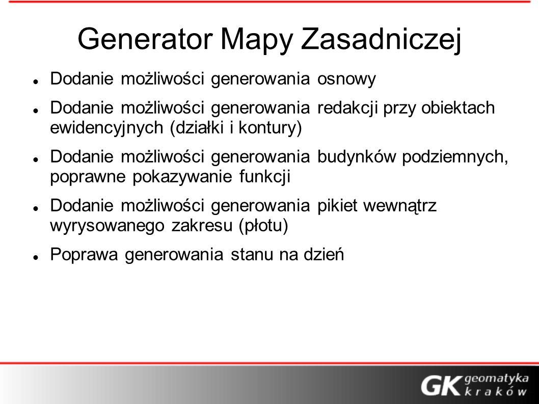 Generator Mapy Zasadniczej Dodanie możliwości generowania osnowy Dodanie możliwości generowania redakcji przy obiektach ewidencyjnych (działki i kontu