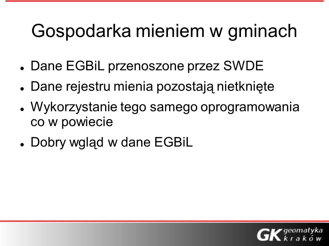 Gospodarka mieniem w gminach Dane EGBiL przenoszone przez SWDE Dane rejestru mienia pozostają nietknięte Wykorzystanie tego samego oprogramowania co w powiecie Dobry wgląd w dane EGBiL